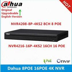 Dahua original NVR4208-8P-4KS2 8ch com 8 portas poe NVR4216-16P-4KS2 16ch com 16 portas poe 4 k nvr 1u gravador de vídeo em rede