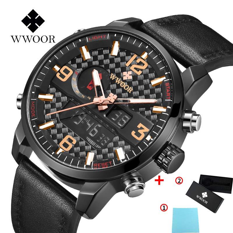 Men's Watch Retro Design Leather Band Analog Electronic Digital Clock Quartz Dual display Watch WWOOR Male Sport Watches Hot+Box
