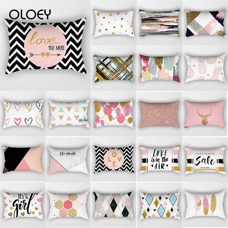 Fashion Pink English Letter Travel Pillowcase Rectangular Creative Pattern Printing Decorative Double-sided Pillowcase 50 * 30cm