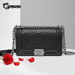 Классическая женская сумка на цепочке с ромбовидной решеткой, брендовая роскошная сумка на плечо из натуральной кожи, женская сумка через п...