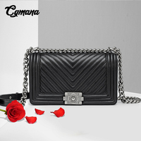 Classic Diamond Lattice Women Chain Bag Brand Luxury Genuine Leather Shoulder Bag Sheepskin Leather Lady Crossbody Messenger Bag