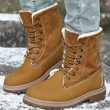 Mid Calf Booties Woman 2019 Winter Sewing Rubber Comfortable Female Snow Boot Plush Lace Up Leather Boots Women цена