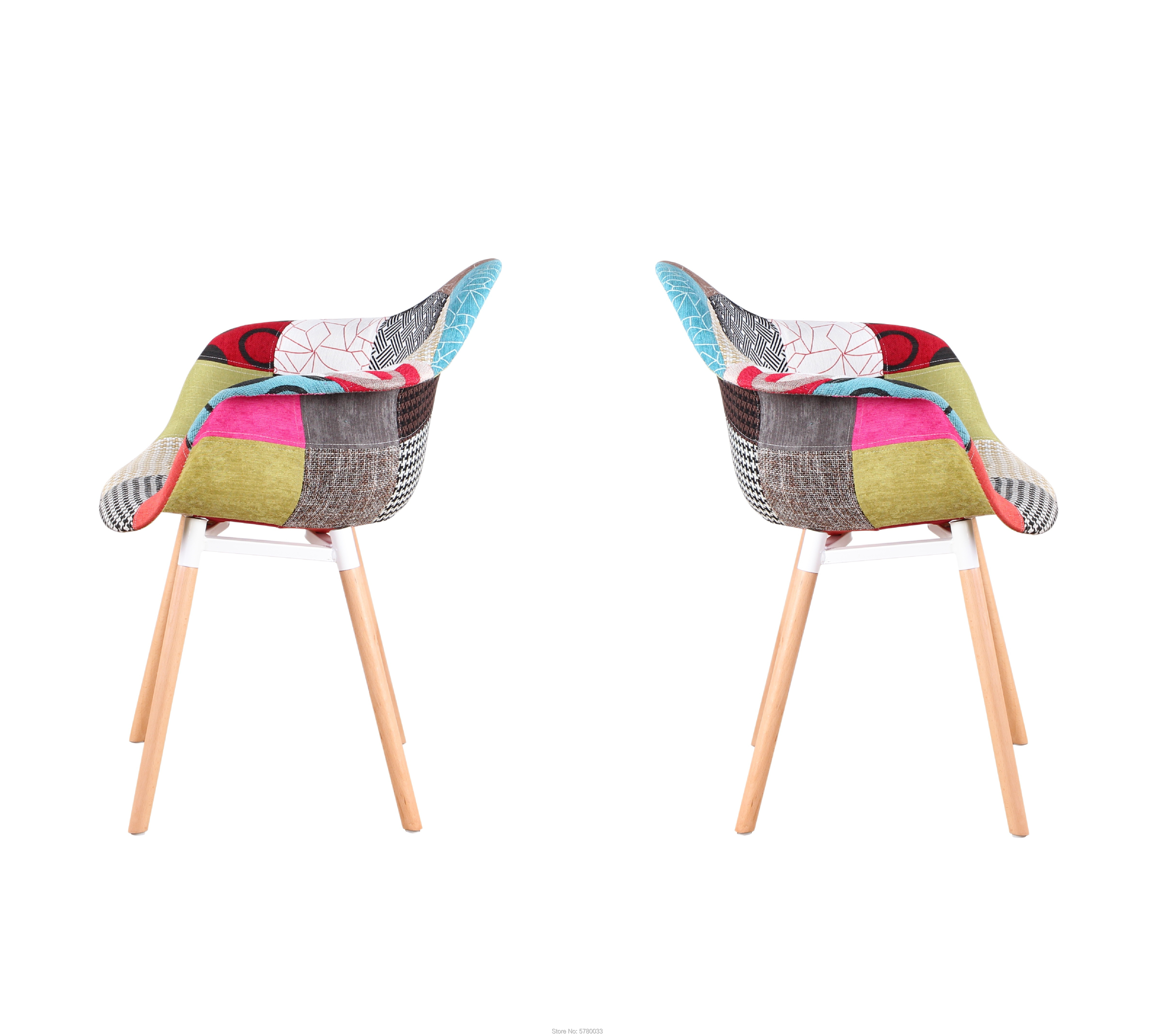 A Set Of 2 Medieval Art Style Dining Chairs With Beautiful And Durable Patchwork Pattern, Suitable For Living Room Dining Room