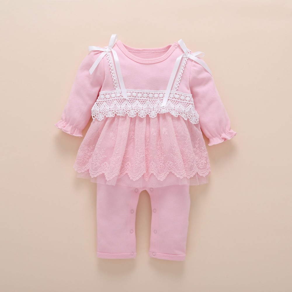 Image 3 - Newborn Baby Girl Clothes Fall Cotton Lace Princess Style Baby Jumpsuit 0 3 Months Infant Romper With Socks Headband ropa bebeRompers   -