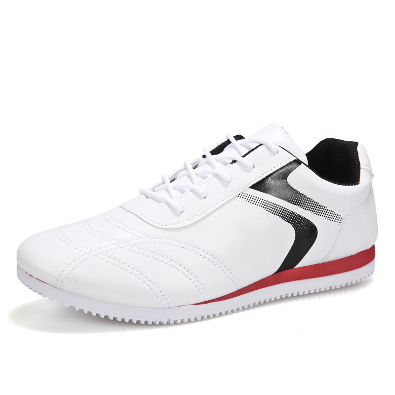 Fashion Leisure Flats Man 2020 Spring Autumn Pu White Flat Sports Shoes Man Lace Up Non-slip Casual Running Shoes Male Sneakers