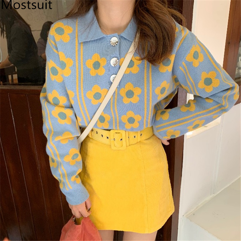 2019 Winter 2 Piece Skirt Suits Sets Women Flower Sweater+ Mini Belted Skirt Suits Casual Fashion Korean Sweet Kawaii 2 Pcs Sets