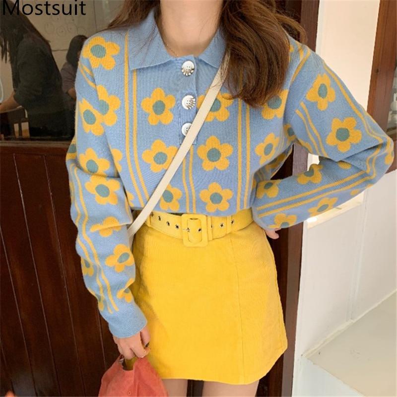 Женский комплект из 2 предметов, Повседневный свитер с цветочным принтом и мини-юбка с поясом в Корейском стиле, милый костюм из 2 предметов, ...