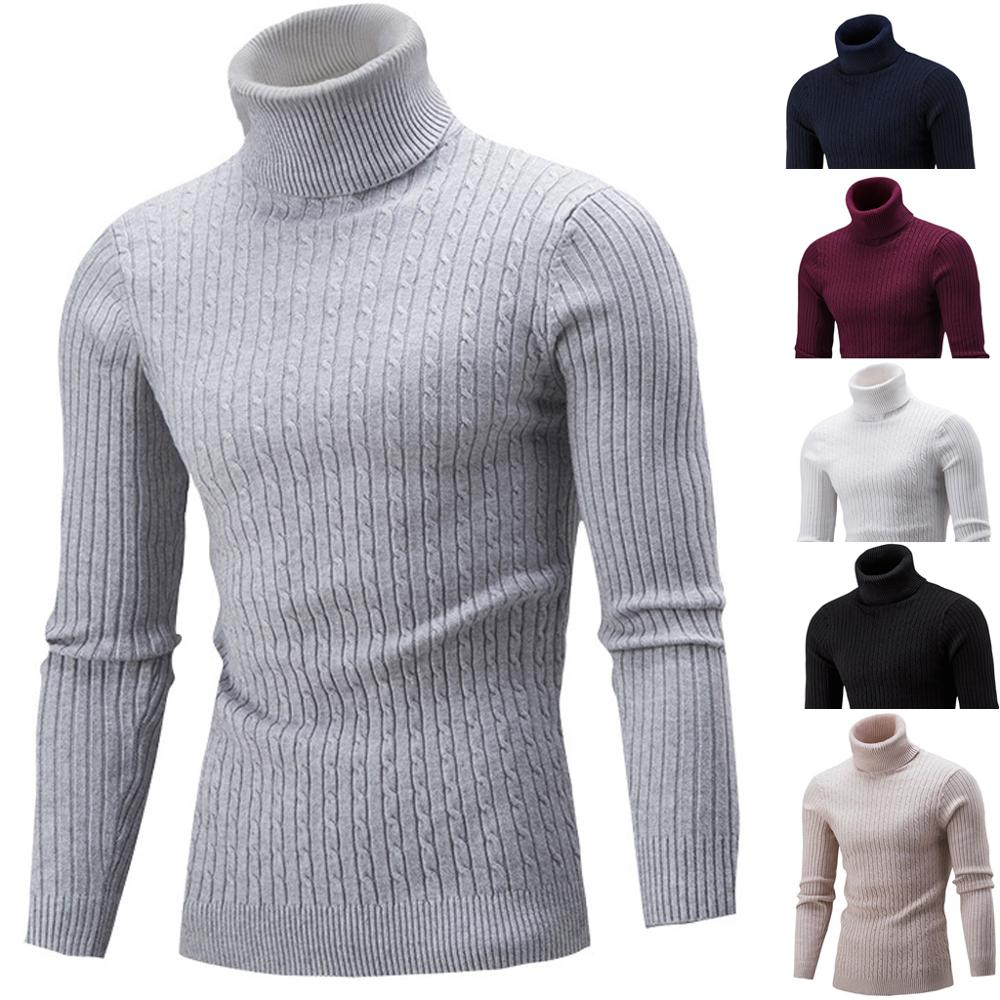 Pull Homme 2019 Winter Warm Long Sleeve Cotton Cotton High Neck Pullover Sweater Tops Turtleneck