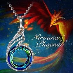 Moda Gümüş Nirvana Phoenix Kolye Kolye Kadınlar için Yapılan Sihirli Kristal 2 Renk Mavi Sarı