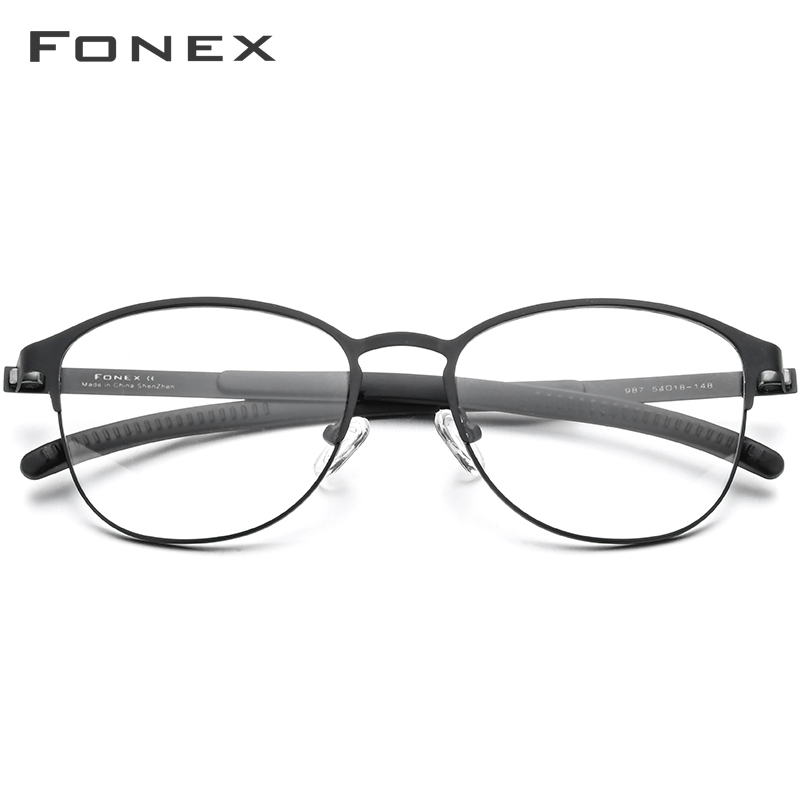 Image 2 - FONEX Silicone Alloy Optical Eye Glasses Frames for Women Round Myopia Prescription Eyeglasses Men 2020 Screwless Eyewear 987Mens Eyewear Frames   -