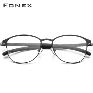 Image 2 - FONEX Silicone Alloy Optical Eye Glasses Frames for Women Round Myopia Prescription Eyeglasses Men 2020 Screwless Eyewear 987
