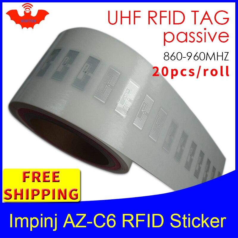 UHF RFID Tag Sticker Impinj MR6 AZ-C6 Wet Inlay 915m868 860-960mhz EPC 6C 20pcs Free Shipping Self-adhesive Passive RFID LabelUH