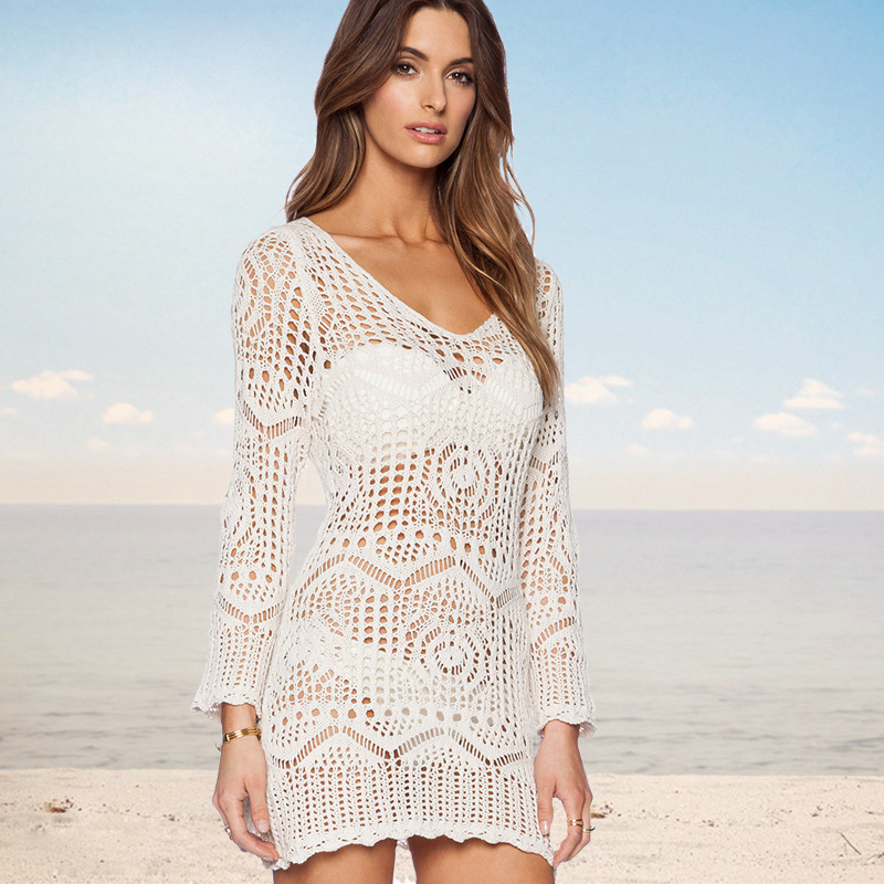 New Style Knitted Hollow Out Horizontal Neck One Piece Beach Skirt Off-Shoulder Beach Sexy Dress Lace Bra Pullover Dress
