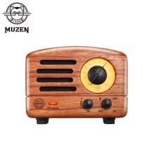 MUZEN OTR Wood Small Portable Outdoor Wireless Bluetooth Speaker with FM Radio Handmade Wooden Subwoofer Retro Art Present