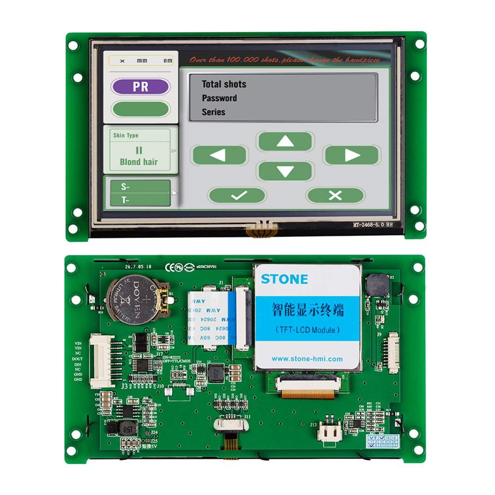 Five Pics 5 Inch 480x272 LCD Panel with Controller + TTL RS232 RS485 Port + Touch Screen Support Any MCU STVI050WT-01 image