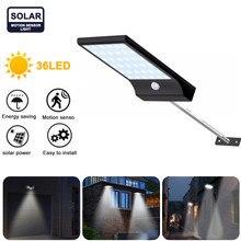 3modes 36LED Solar PIR Motion Sensor Wall Light Outdoor 3.7V/2200mAh Waterproof IP65 For Path Garage Garden Security Street Lamp