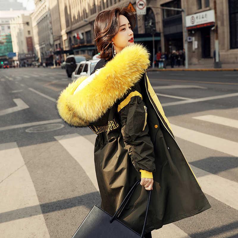 Frauen Winter Unten Jacken Dicke Warme Weiße Ente Unten Mantel Weibliche Große Echt Waschbär Pelz Mit Kapuze Lange Parka Mäntel LWL1143