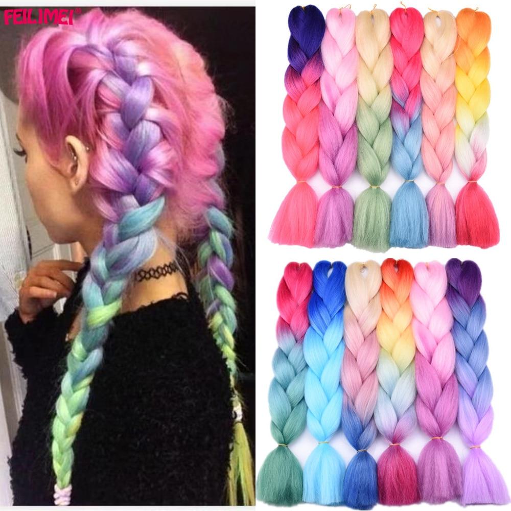 Feilimei ombre trança extensões de cabelo sintético resistente ao calor jumbo tranças 100 g/pc 24 Polegada verde/cinza/roxo/azul/preto cabelo