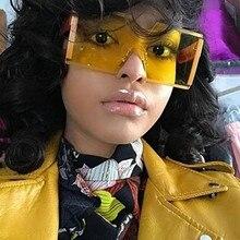2020 Oversized Square Rimless Sunglasses Women Brand Designe