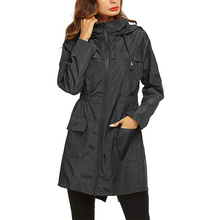 Waterproof Trench Coat Women Windbreaker Raincoat Femme Long Slim Hooded Pocket Rain Coats Zipper