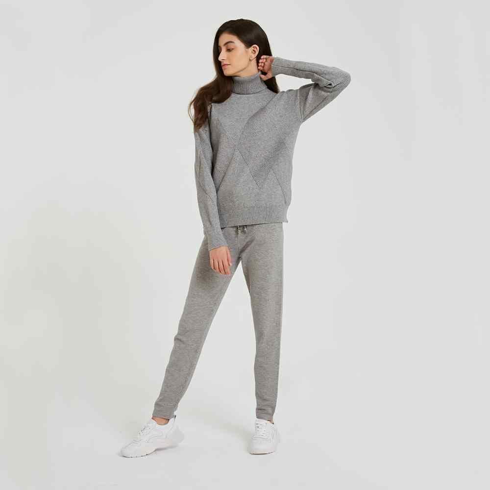 Wixra Otoño Invierno Casual de punto conjuntos de mujer suéteres de manga larga de cuello alto con cordones pantalones conjuntos sólidos para damas