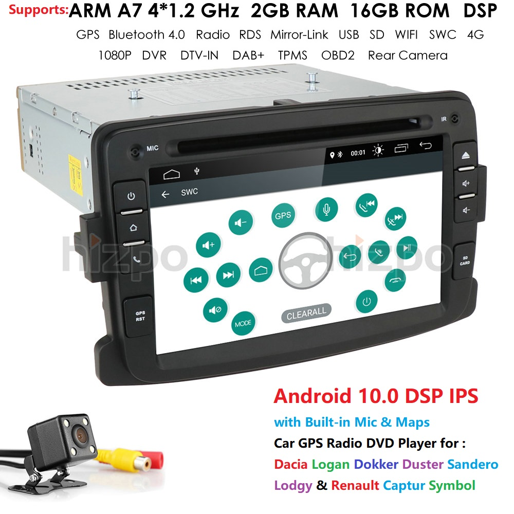 Android 10.0 Car Autoradio 1 Din Car Multimedia Player GPS Buletooth Car Stereo MirrorLink For Renault Sander Dacia Logan Dokker image