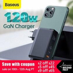 Cargador Baseus GaN 120W PD cargador USB C de carga rápida QC4.0 QC3.0 cargador USB de carga rápida ForMacbook ForiP para tableta portátil