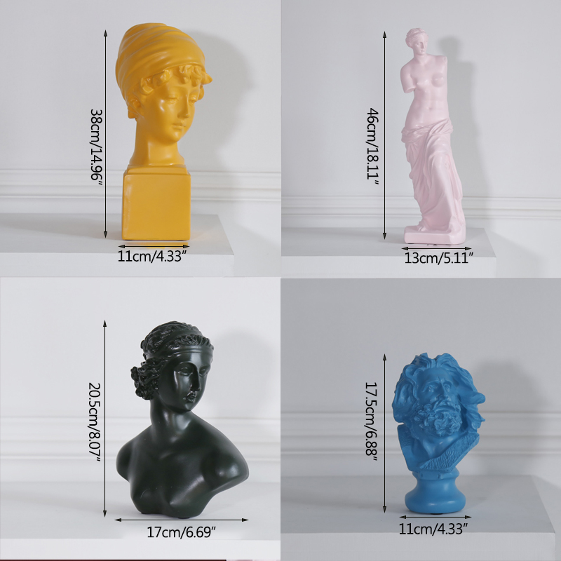 Strongwell Nordic Gypsum Head Morandi Resin Sculpture Ornament Art Decoration David Venus Sketch Character in Figurines Miniatures from Home Garden