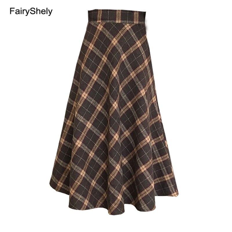 2019 Autumn Winter High Waist Umbrella Skirt A Word Skirt Wild Waist Woolen Female Flared New Poncho Skirt Long Skirt Plus Size