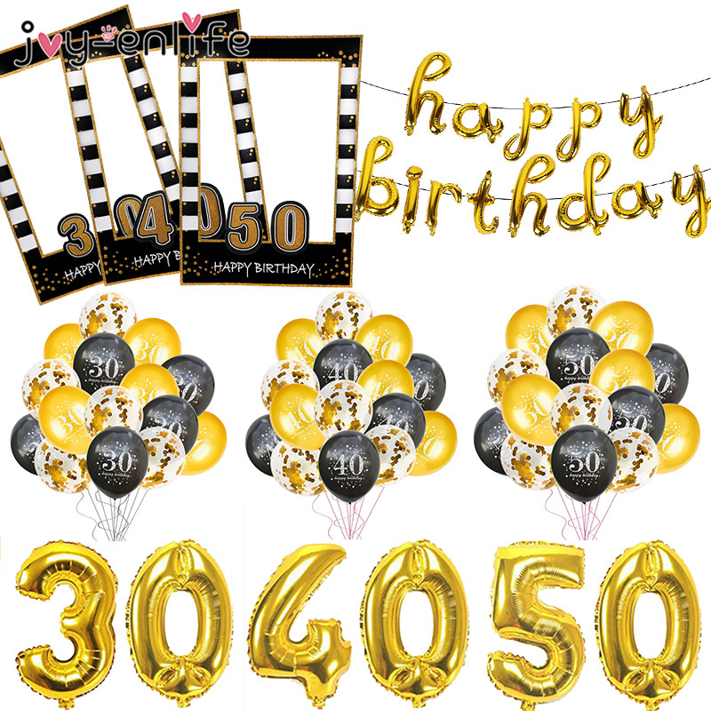 30 40 <font><b>50</b></font> 60 <font><b>Anniversary</b></font> Balloons Happy Birthday Party Decor Adult Black Gold Balloon 30th 40th 50th Years Party Photobooth Props image