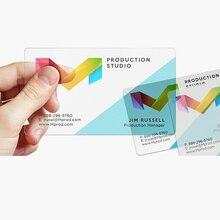Tarjetas de visita de plástico PVC transparente con impresión personalizada, 200/500 hojas, tarjetas de visita impermeables para un solo diseño