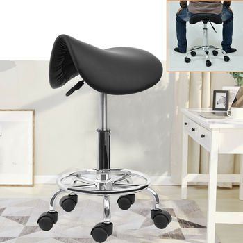 Honhill Saddle Salon Stool For Beauty Barber Swivel Chair Hairdressing Massage Spa Ha Ha Feet Rotation Bar Stool Black White