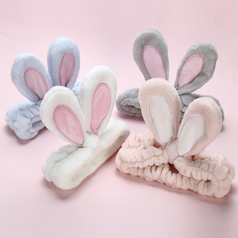 Cute Bunny Ear Makeup Headbands For Washing Face Shower Spa Mask Soft And Cute Rabbit Ear Hair Bands For Women And Girls