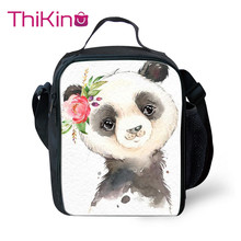 Thikin Cute Panda Lunch Bags for Students Boys wreath Animals Portable Cooler Box Kids Pterosaur Tote Picnic Pouch For Girls