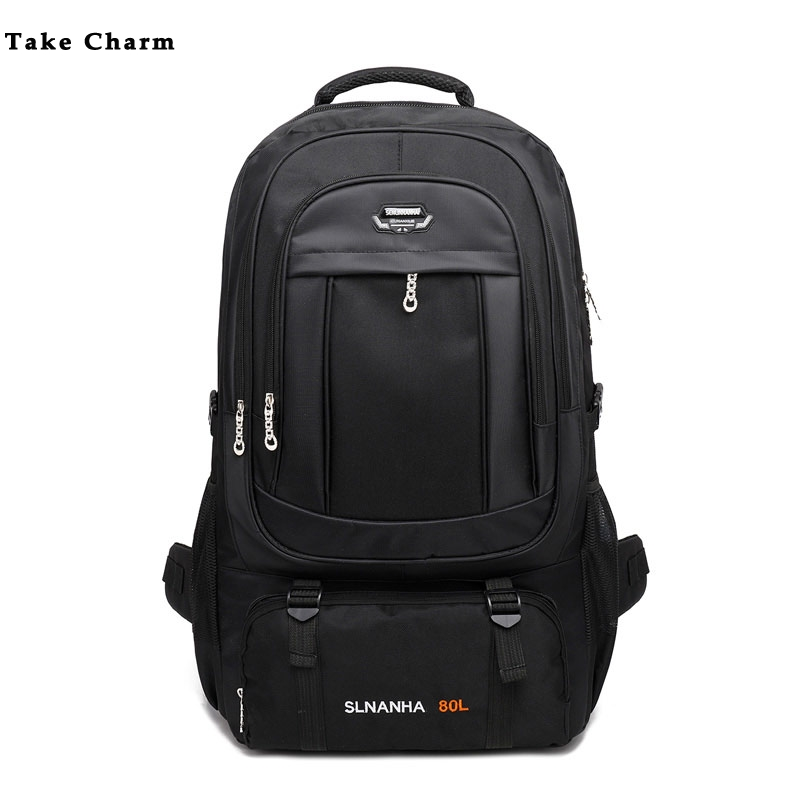 Large Capacity 50 L Men's Travel Backpack Outdoor Camping Mountaineering Bag Luggage Bag Leisure Sports Backpack Black Dark Blue