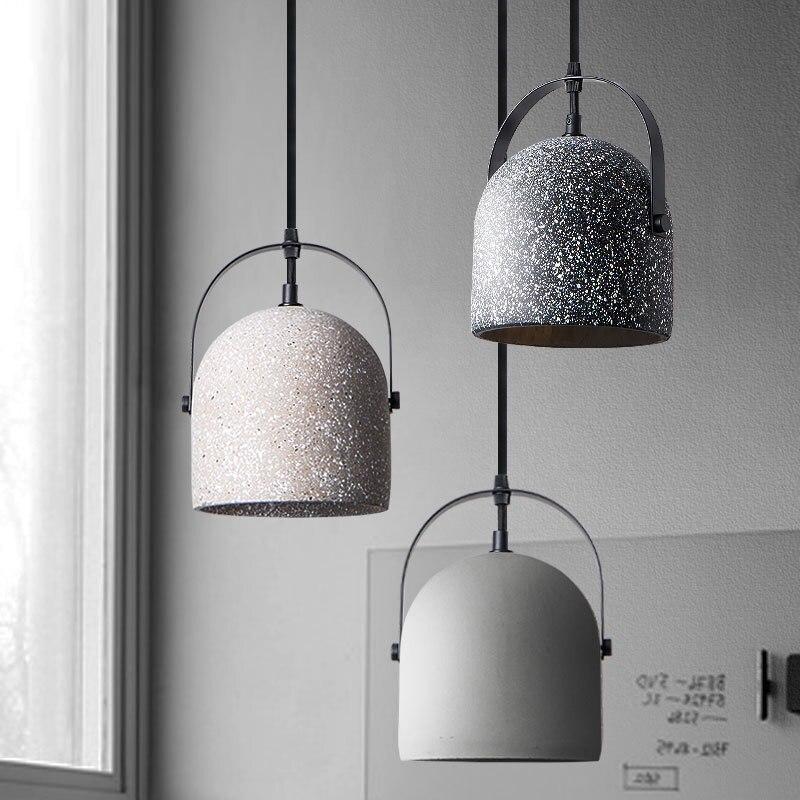 Vintage petit gris béton pendentif lumières ciment matériel lampe pour Loft salle à manger cuisine café Bar béton Suspension lampe
