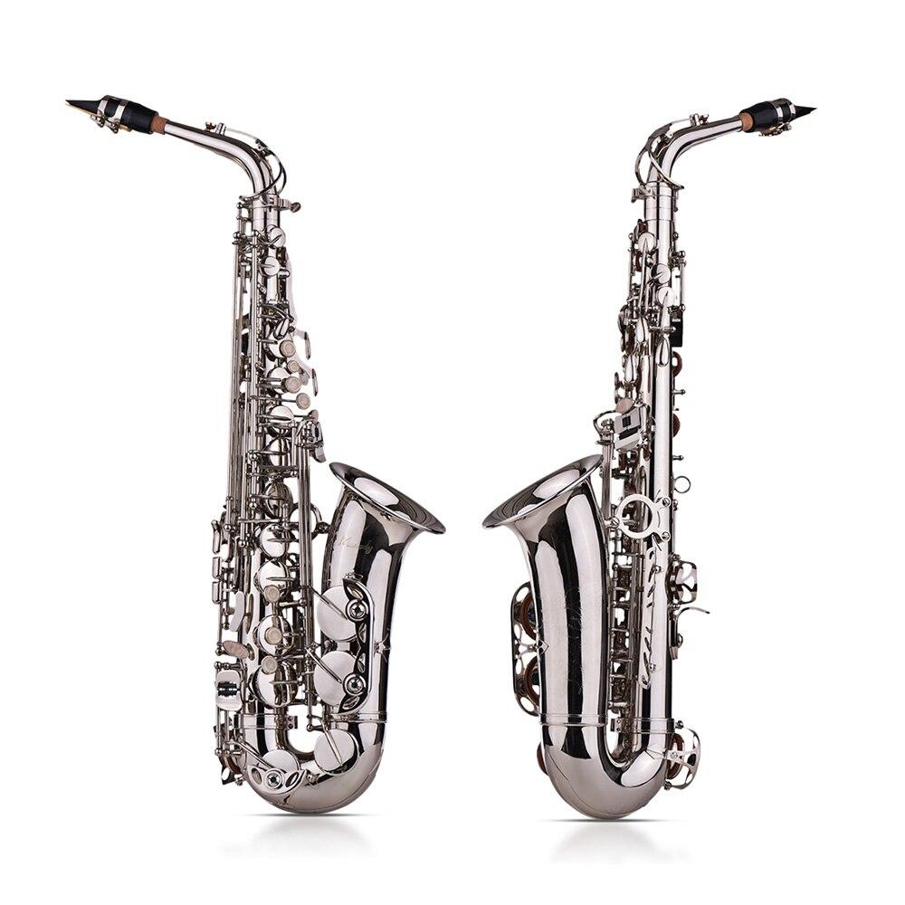 Muslady Eb Altsaxofoon Sax Messing Gelakt Goud 802 Type Sleutel Sax Muziekinstrumenten Met Gewatteerde Draagtas Handschoenen - 3