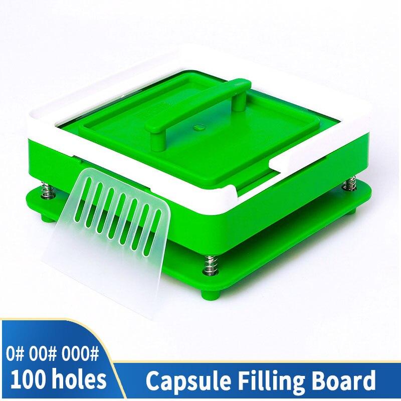 00 # 000 # 100 Hole Medicinal Powder Manual Filling Machine Transparent Acrylic Food Grade Tool DIY Board Capsule Dispenser
