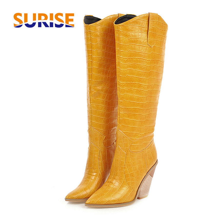 Big Size Winter Western Women Knee High Boots Black Yellow Faux Crocodile Leather Pointed Toe Wedge Heel Lady Cowgirl Long Boots