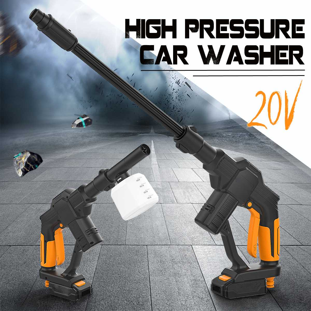 Wireless High Pressure Car Washer Guns 20V Portable Cordless Pressure Cleaner Rechargable Car Care Washing Machine W/ 5m Tube