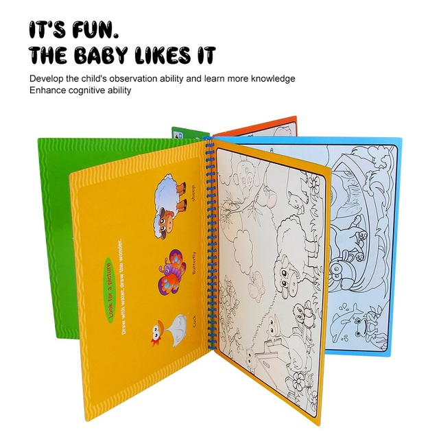 Magic Water Drawing Book With Magic Pen Painting Drawing Board Coloring Book Toys For Children Education Drawing Toy Kids Gifts 2