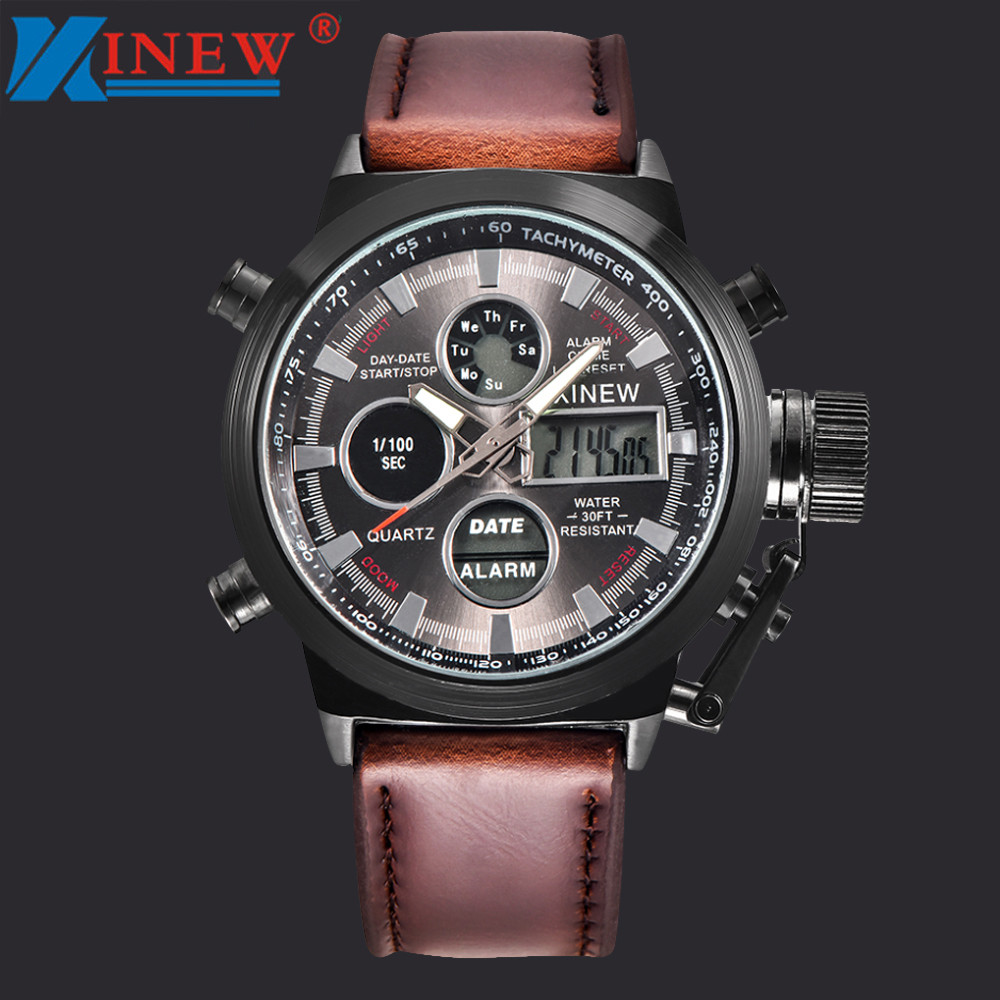 XINEW Fashion Luxury Brand Mens Watch Sport Military LED Analog Stainless Steel Case Leather Strap Mens Dual Wrist Watches Reloj