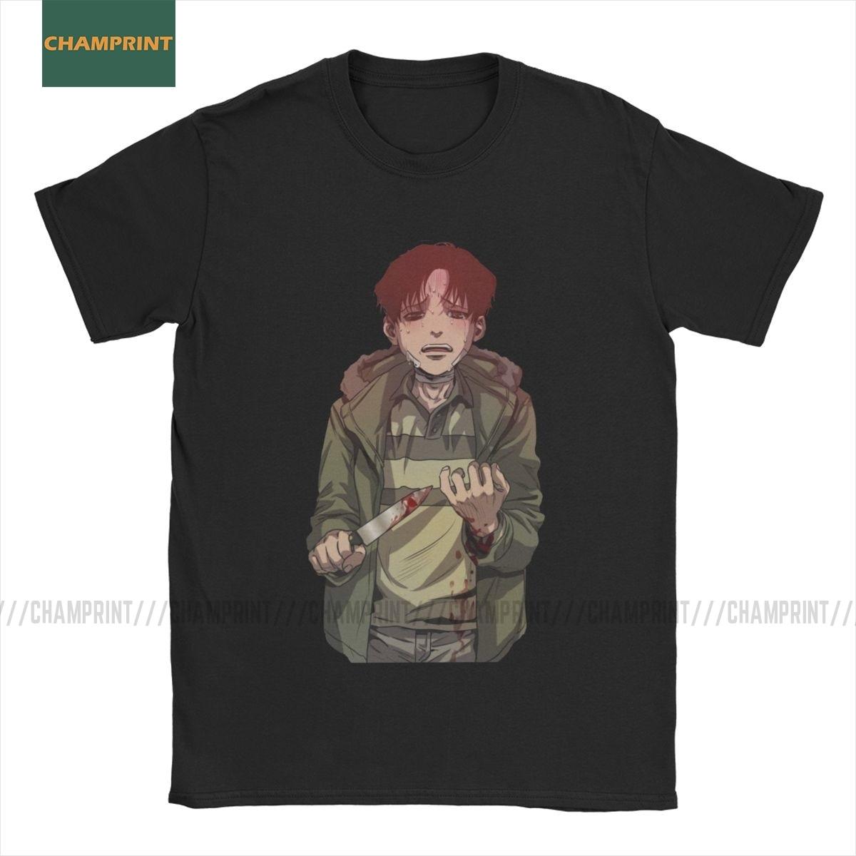 Men Yoonbum Killing Stalking T Shirts KS Sangwoo Korea Kogi Yaoi Shonen Manga Pure Cotton Short Sleeve Tees Plus Size T-Shirt