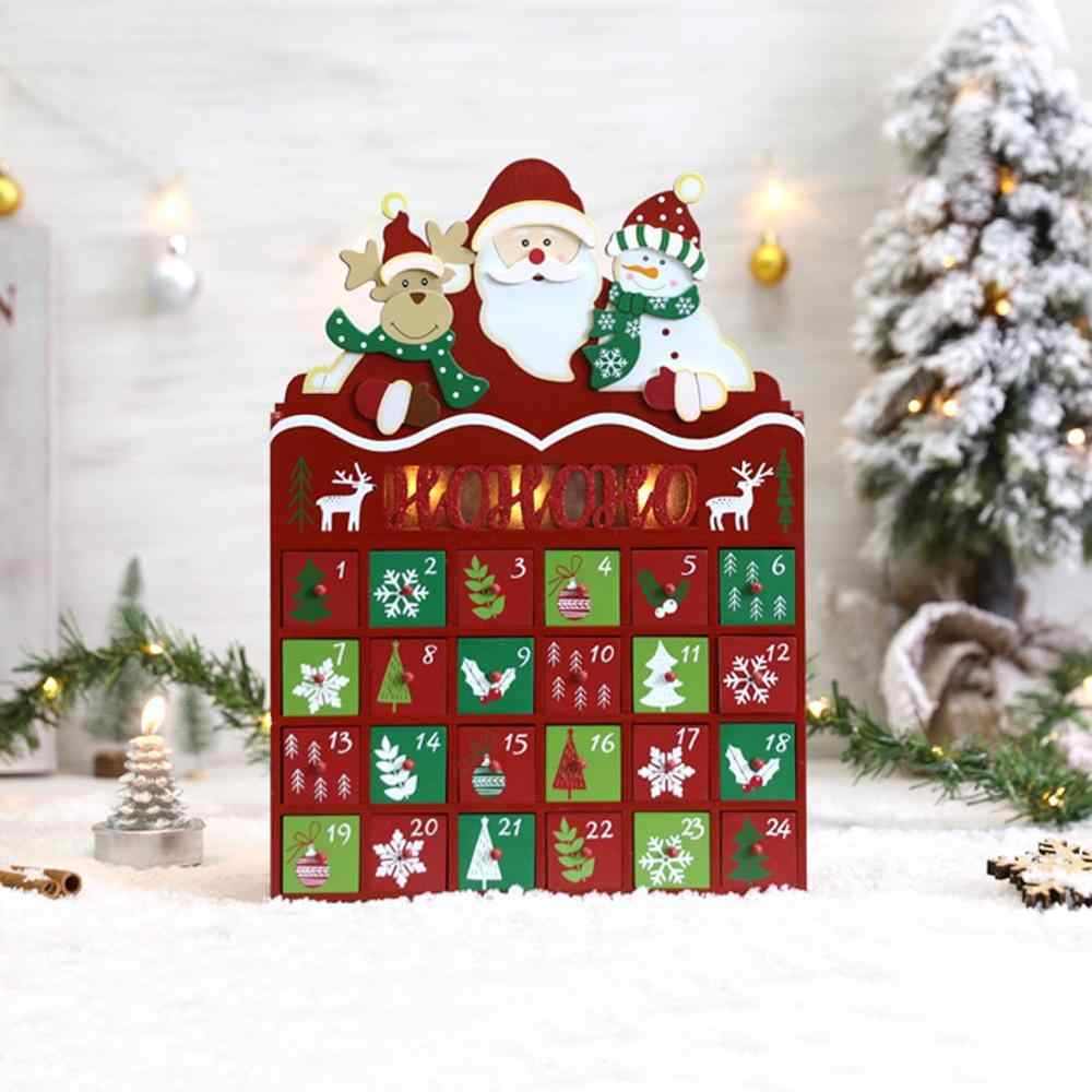 Wooden Christmas Santa Advent Calendar with 24 Drawers for Gifts