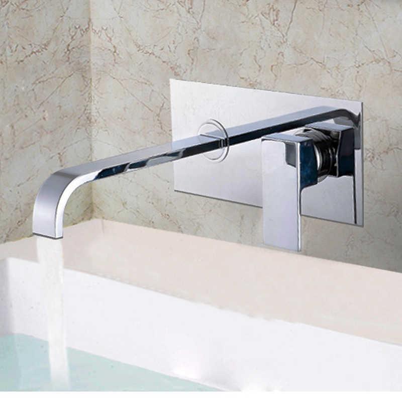הסתיר אמבטיה ברז כיור ברזי עם משובץ תיבת כרום סיים פליז מיקסר מים ברזי חם קר בקרת שסתום
