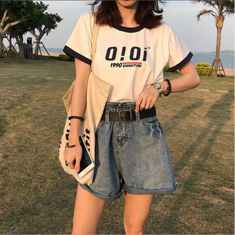 European American Style Woman T Shirt Fashion Letters Print Short Sleeve O Neck Cotton Women Tops Tees Slim Fit Woman T-shirt