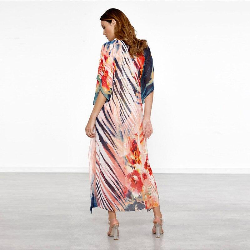 Europe And America New Style Chiffon Positioning Printed Beach Long Skirts Loose And Plus-sized Robe-like Holiday Skirt Bikini C