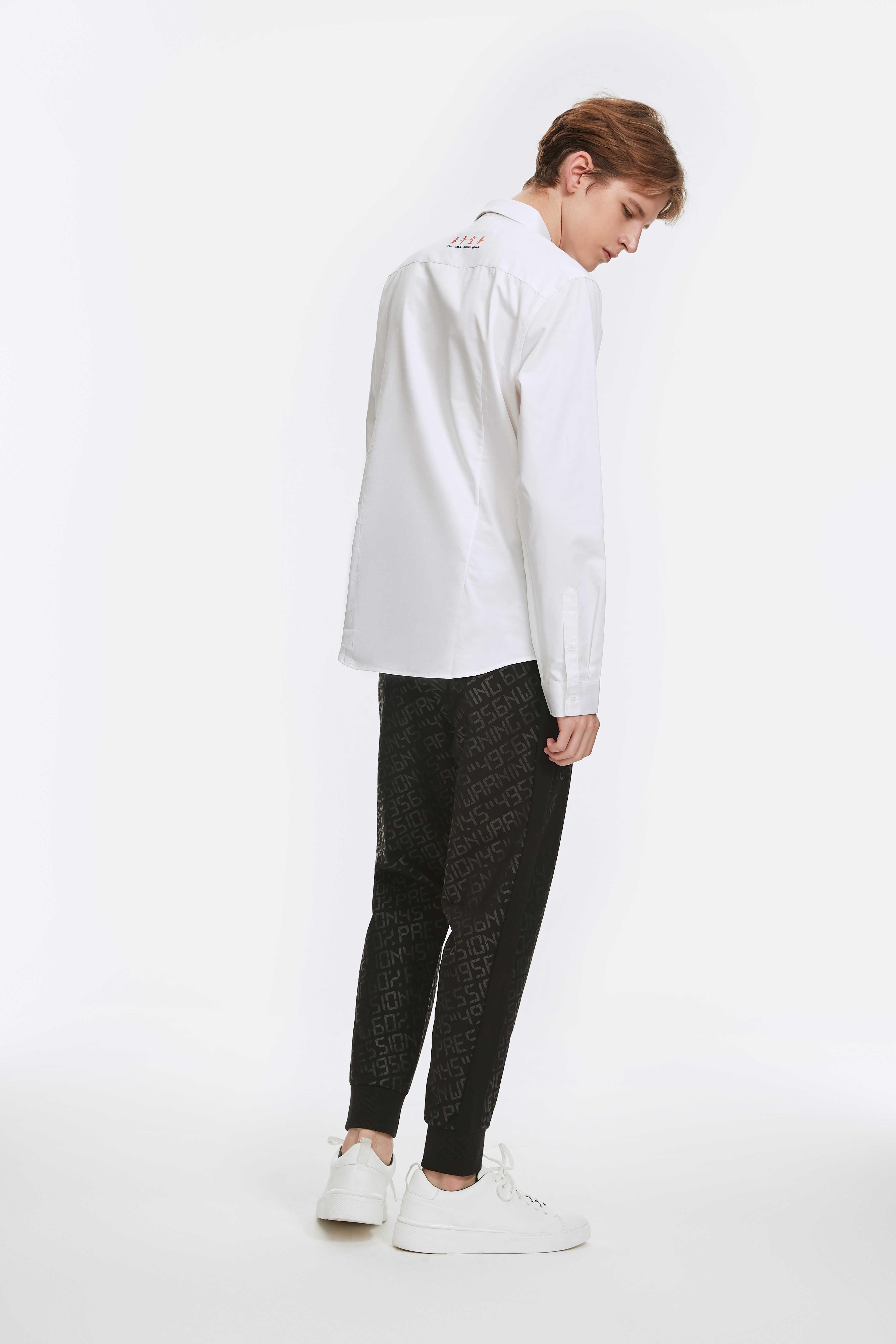Mark Fairwhale Autunno di Modo Degli Uomini Casual Camicette Stampa Gira-giù il Collare Bianco Manica Lunga Magliette e camicette Gli Uomini 718303012004