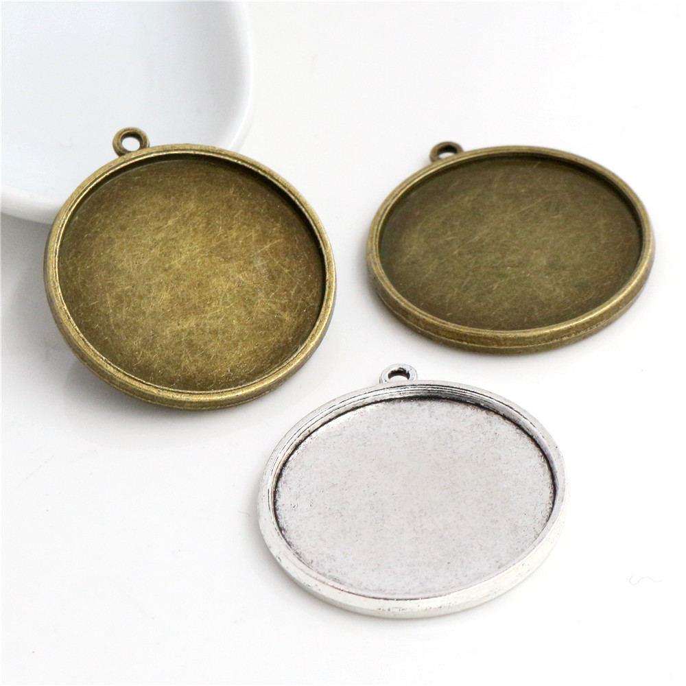 10pcs 30mm Inner Size Antique Silver Plated And Bronze Classic Double Side Style Cabochon Base Setting Charms Pendant Tray