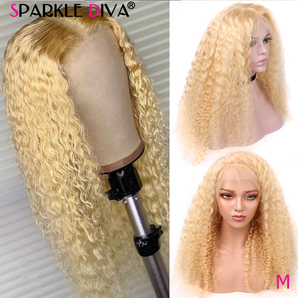 613 Blonde Lace Front Human Hair Wigs Peruvian Loose Deep Wave Human Hair Wigs For Women Remy 13x4 Blonde Lace Front Wig 150 Den
